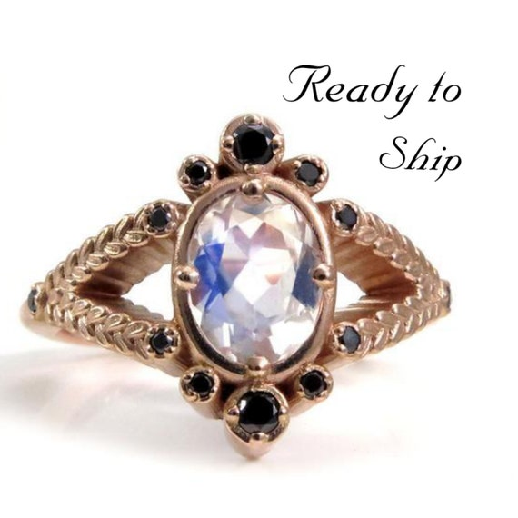Ready to Ship Size 6 - 8 - Oval Moonstone and Sage Split Shank Ring with Black Diamonds - 14k Rose Gold Botanical Engagement Ring