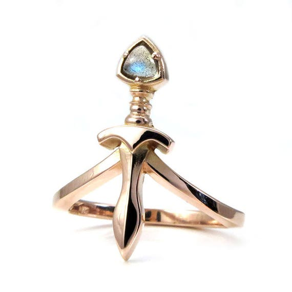 Labradorite Trillion Dagger Midi Ring - Sterling Silver, 14k Rose, Yellow or Palladium White Gold
