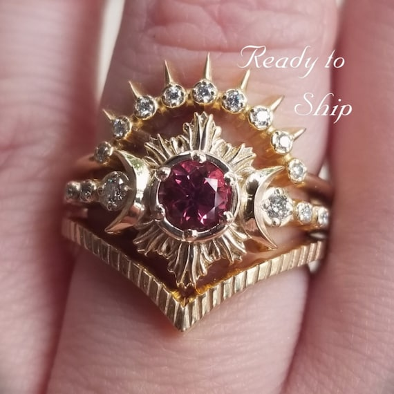 Ready to Ship Size 6 - 8 - Malaya Garnet Moon Fire Engagement Ring Set - Diamond and Yellow Gold Celestial Moon Ring & Stacking Bands