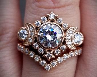 Selene Moon Phase Goddess Engagement Ring Set - Moissanite or Galaxy Diamond Lunar Boho Wedding Ring -14k Rose, Yellow or White Gold