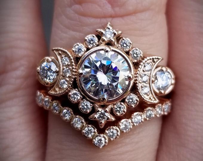 Featured listing image: Selene Moon Phase Goddess Engagement Ring Set - Moissanite or Galaxy Diamond Lunar Boho Wedding Ring -14k Rose, Yellow or White Gold
