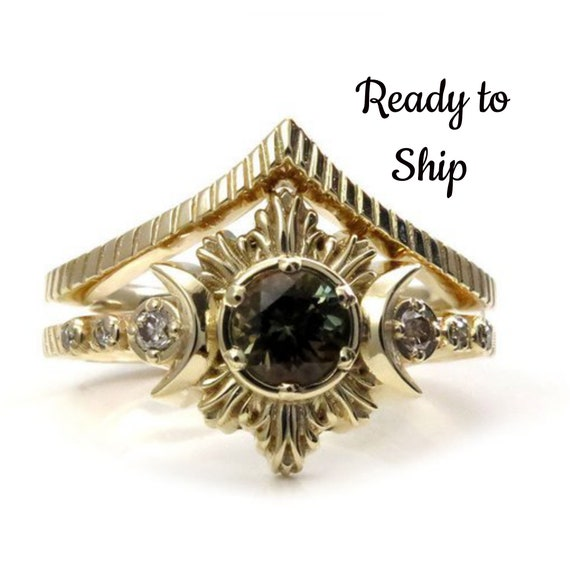 Ready to Ship Size 6 - 8- Bi-Color Tourmaline MoonFire Boho Engagement Ring Set with Honey Champagne Diamonds