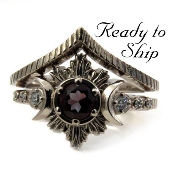 Ready to Ship Size 6 - 8 Oregon Sunstone Moon Fire Gothic Engagement Ring with White Diamonds - 14k Palladium White Gold