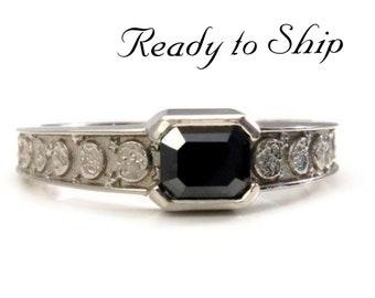 Ready to Ship Size 7 - 7.25 - Black Diamond Emerald Cut Moon Phase Solitaire Ring - 14k Palladium White Gold