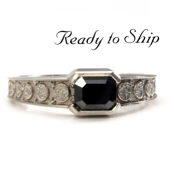 Ready to Ship Size 7 - 7.25 - Black Diamond Emerald Cut Moon Phase Solitaire Ring - 14k Palladium White Gold