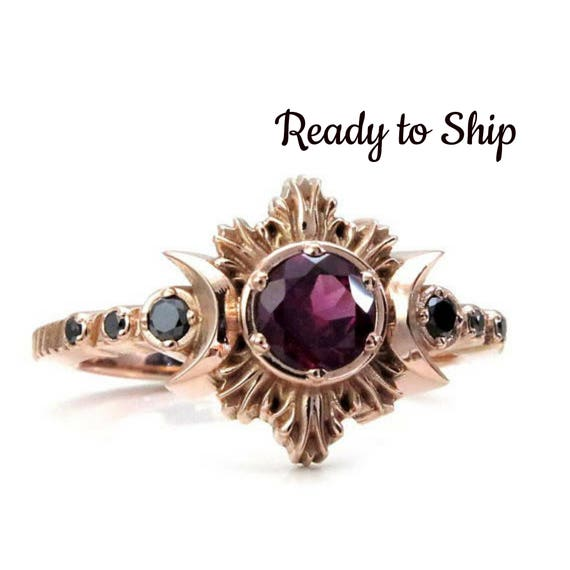 Ready to Ship Size 6 - 8 Rhodolite Garnet Moon Fire Gothic Engagement Ring with Black Diamonds - 14k Rose Gold