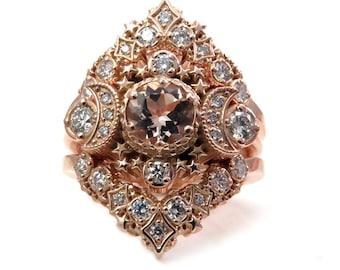 Cosmos Constellation Engagement Ring Set - Morganite & Diamonds Celestial Wedding Set - 14k Palladium White Gold, Rose Gold or Yellow Gold