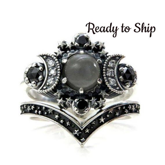 Ready to Ship Size 5 - 7 - Grey Moonstone Silver Moon Engagement Ring Set - Bohemian Stacking Wedding Rings