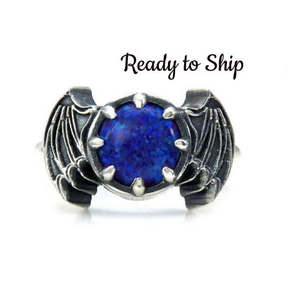 Ready to Ship Size 6 - 8 - Purple Haze Lab Opal Bat Wing Sterling Silver Gothic Ring