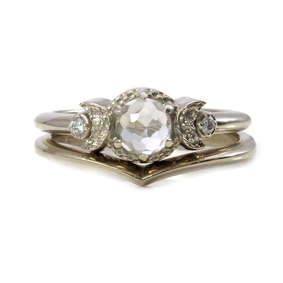 White Topaz and White Diamond Moon Ring with Chevron Nesting Wedding Band - White Gold