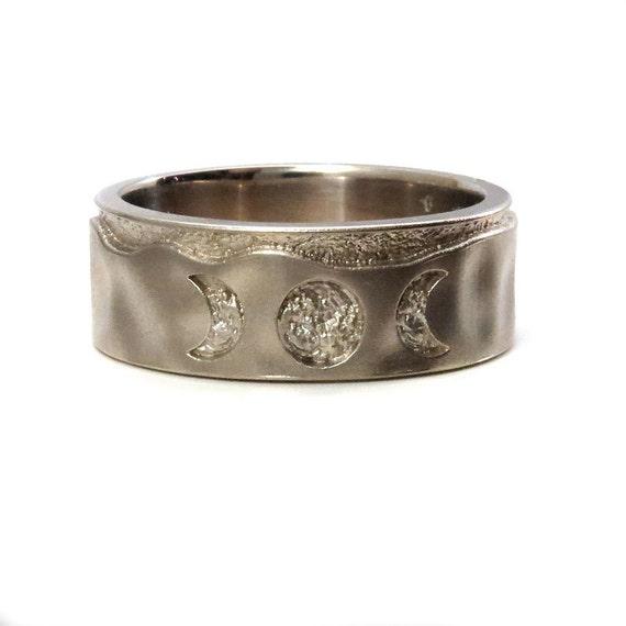 Mens White Gold Moon Phase Wedding Ring - Lunar Engagement Gold Band
