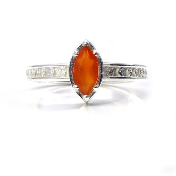 Sterling Silver Moon Ring with Carnelian Marquise - High Shine Finish - Other Gem Options Available