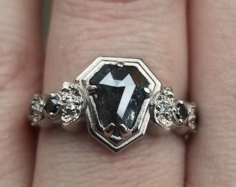 Ready to Ship Size 6-8 - Rose Cut Shield Salt & Pepper Diamond Moon Phase Ring with Black and White Diamonds - 14k Palladium White Gold