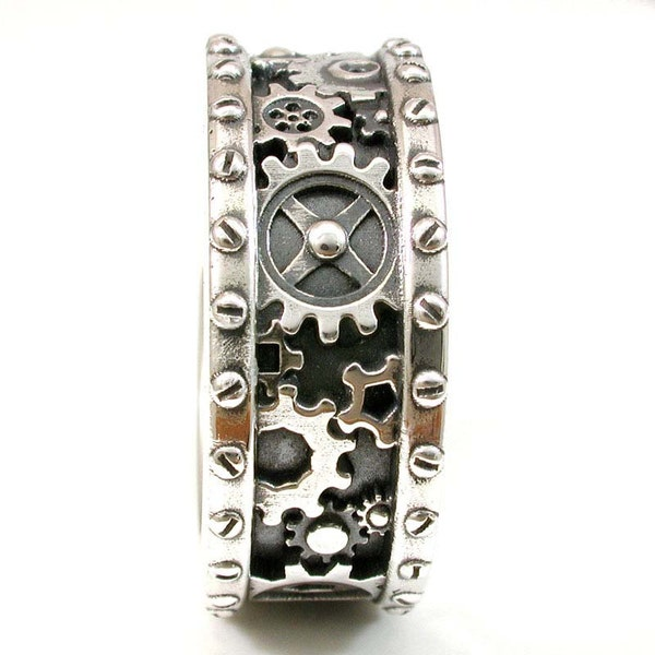 SteamPunk Mens Silver Ring  Gears and Rivets  Industrial image 1