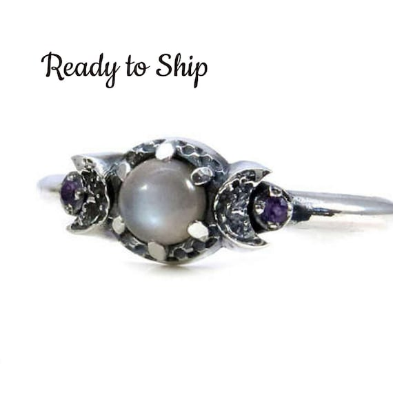 Ready to Ship - Grey Moonstone and Amethyst Triple Moon Ring - Sterling Silver