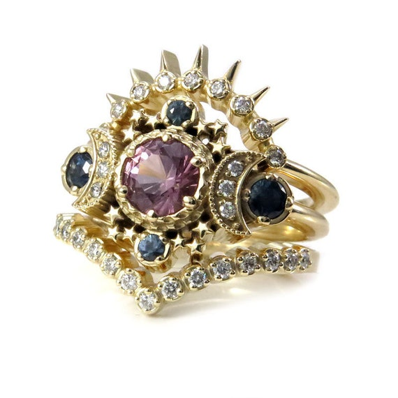 Ready to Ship Size 6 - 8 - Tunduru Garnet Cosmos Moon Engagement Ring 3 Ring Set with Montana Sapphires & White Diamonds -14k Yellow Gold