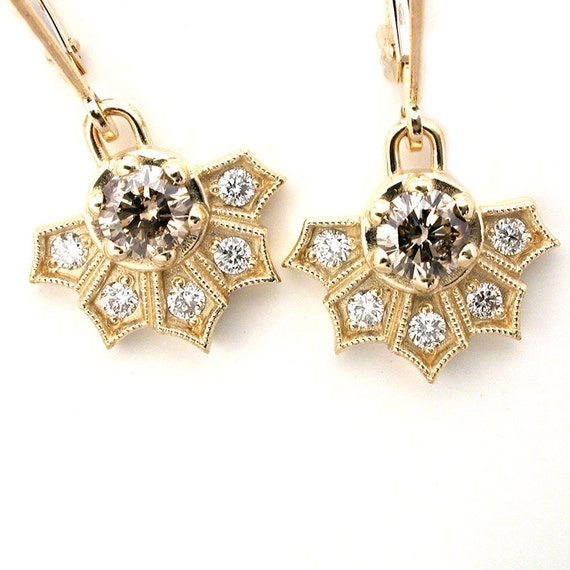 Ready to Ship - Champagne Diamond and White Diamond Art Deco Fan Diamond Earrings - 14k Yellow Gold Dangle Earrings