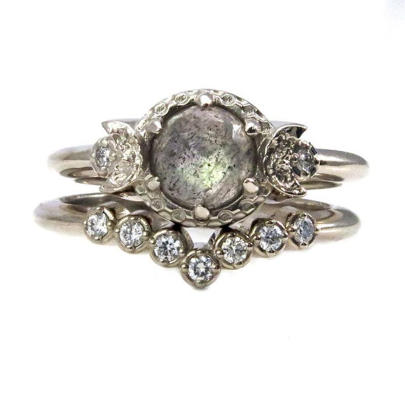 Rose Cut Labradorite and Diamond Moon Engagement Ring Set  image 0