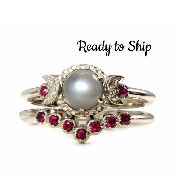 Ready to Ship Size 6 - 8 Gray Moonstone Moon Engagement Ring with Ruby Crown Band - 14k Palladium White Gold
