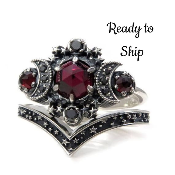 Ready to Ship Size 6 - 8 - Garnet Cosmos Moon Engagement Ring Set Triple Moon Goddess Silver Ring with  Stardust Chevron Wedding Band