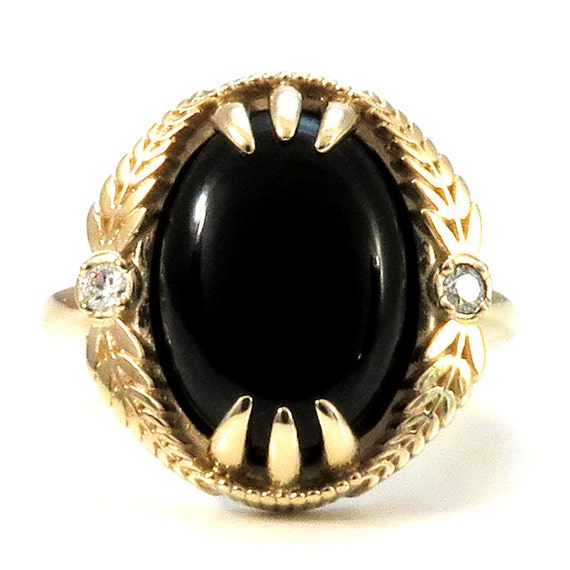 Onyx and Diamond 14k Yellow Gold Ring with Leaf Garland - Gothic Engagement - Ready to Ship Size 5.5-7.5