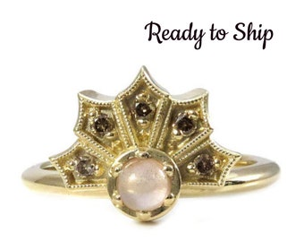 Ready to Ship Size 6-8 - Dainty Diamond and Oregon Sunstone Gothic Crown Ring - 14k Yellow Gold