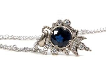 Sapphire Blue Moon Pendant - White Diamond Celestial Necklace - 14k Palladium White Gold - Ready to Ship