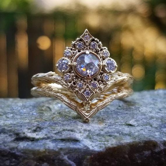 Ready to Ship - Nova Rose Cut Diamond  Engagement Ring Set - 14k Yellow Gold - Witch Wedding Ring