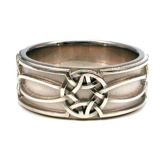 Mens 14k Palladium White Gold Celtic Knot Band - Handmade Engagement Wedding Ring