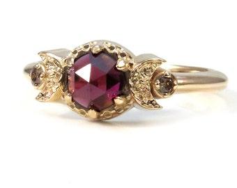 Gold Moon Ring - Rose Cut Garnet and Champagne Diamonds - Yellow Gold Modern Jewelry