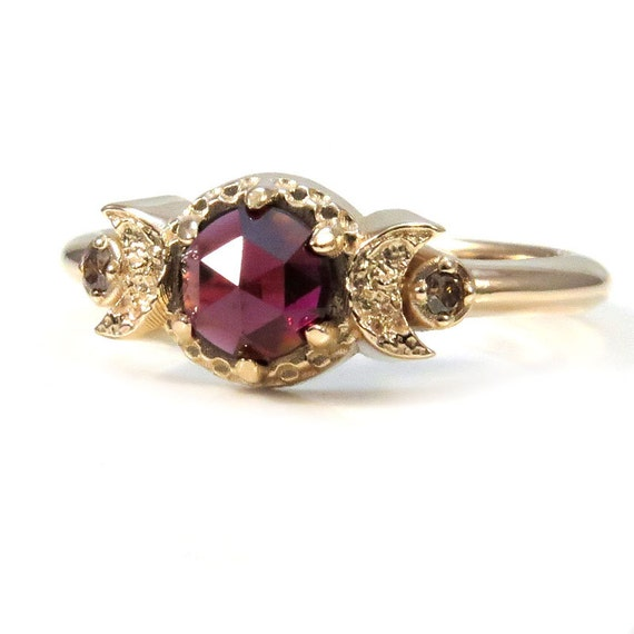 Gold Moon Ring - Rose Cut Garnet and Champagne Diamonds - Yellow Gold Modern Jewelry