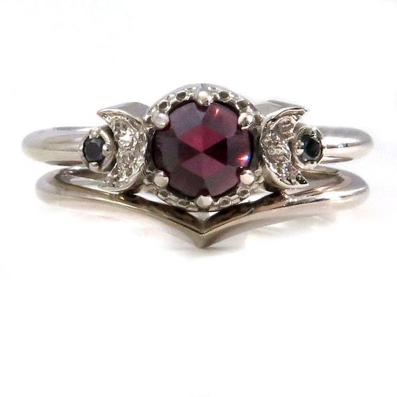 Garnet and Black Diamond Moon Phase Engagement Ring Set - Fine Contemporary Handmade Jewelry
