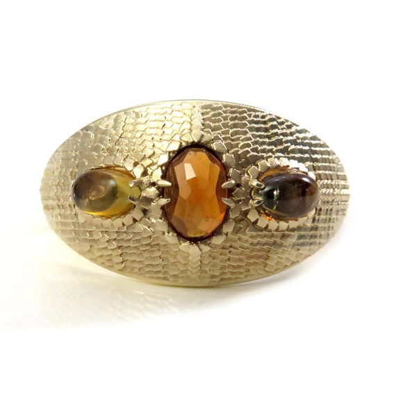 Ready to Ship Size 6 - 8 Mother of Dragons Ring - Hessonite Garnet & Tourmaline Dragon Eggs with Scales and Tails - 14k Yellow Gold