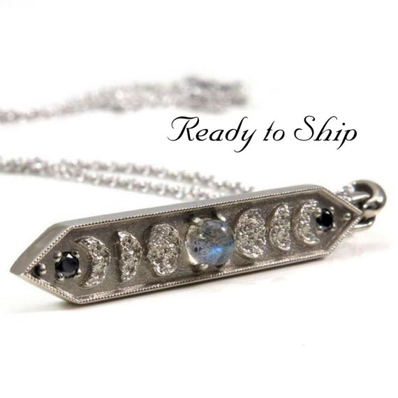 Ready to Ship - Labradorite Moon Phase Bar Pendant with Black Diamonds - Lunar Fine Jewelry Necklace - 14k Palladium White Gold