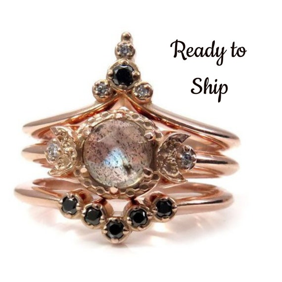 Ready to Ship Size 6 - 8 - Moon Temple Rose Gold Engagement Ring Set - Rose Cut Labradorite with Black and White Diamonds