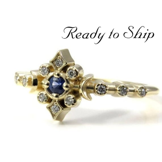 Ready to Ship Size 6 - 8 - Cornflower Sapphire and White Diamond Petite Moon Engagement Ring - Celestial Fine Jewelry - 14k Yellow Gold