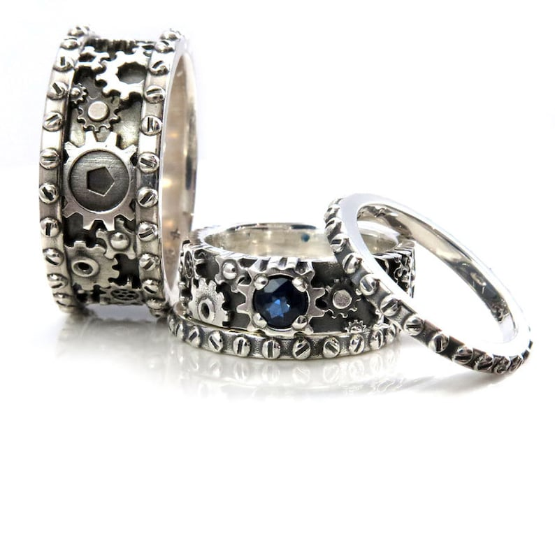 Gear Wedding Ring | His And Hers Gears And Rivets Wedding Ring Set Sterling Silver With