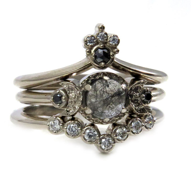 Celestial Bands: Celestial Goth Engagement Ring Set Black Rutile Quartz