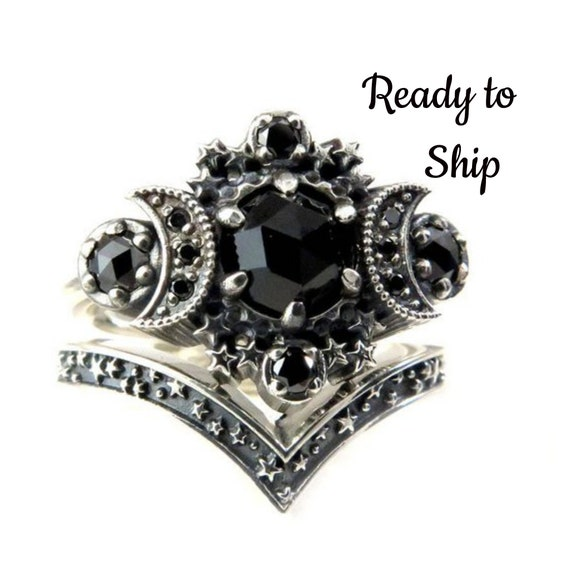 Ready to Ship Size 6 - 8 - Gothic Cosmos Moon Engagement Ring Set Silver Moon and Stardust Chevron Wedding Band