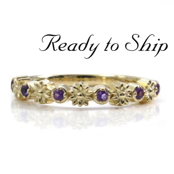 Ready to Ship  Size 6 - 8 - Gold Daisy and Amethyst Half Eternity Ring - 14k Gold Flower Wedding Band