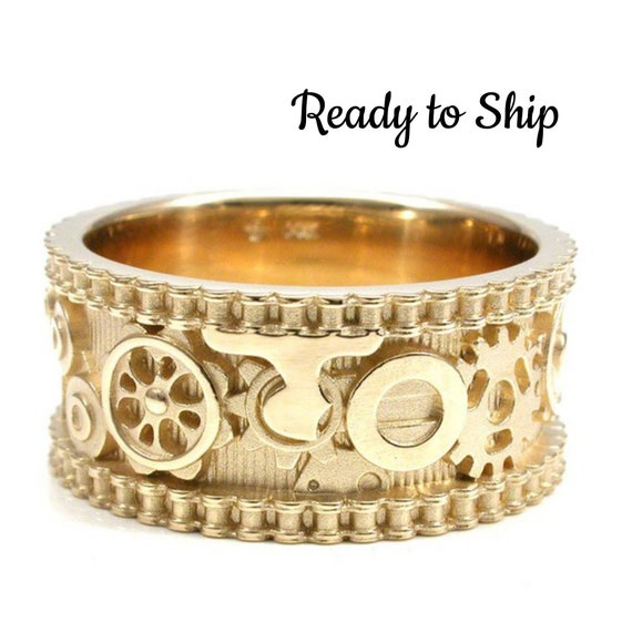 Ready to Ship Size 8.5 - 9 - Steampunk Gold Gear Ring with Bike Chain Sides - Industrial Engagement Band