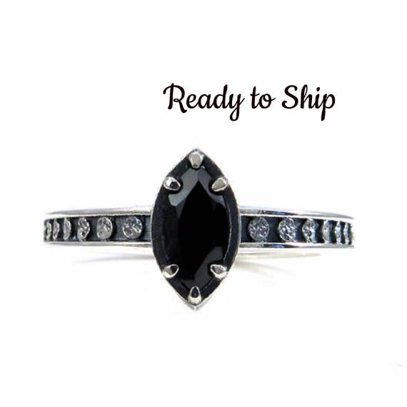 Ready to Ship Size 6-8 Black Spinel Marquise Moon Phase Sterling Silver Solitaire Engagement Ring