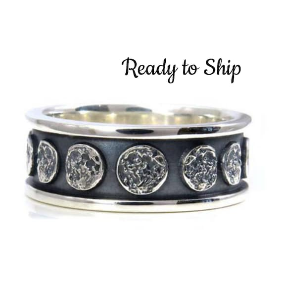 Ready to Ship Size 9 - 11.5 Moon Phase Sterling Silver Band - Lunar Mens Engagement Ring