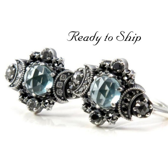 Ready to Ship Size 6 - 8 - Lab Spearmint Spinel Cosmos Moon and Star Ring - Sterling Silver with Black, White or Salt & Pepper Diamonds