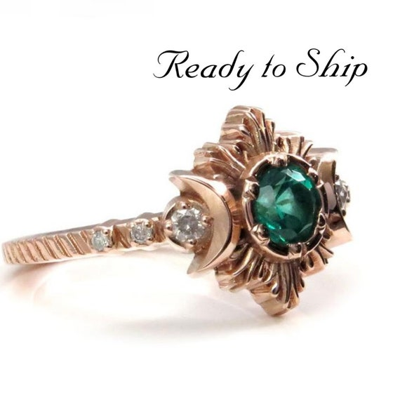 Ready to Ship Size 6 - 8 - Natural Emerald and Galaxy Diamond Engagement Ring Set - 14k Rose Gold Ceremonial Jewelry