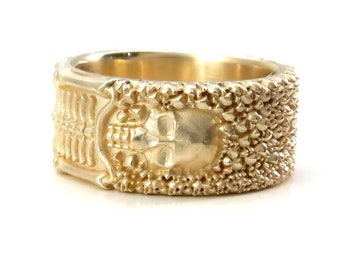 Ready to Ship Size 9 - 9.5 - Till Death Do Us Part - Mens Skeleton Wedding Band - 14k Yellow Gold