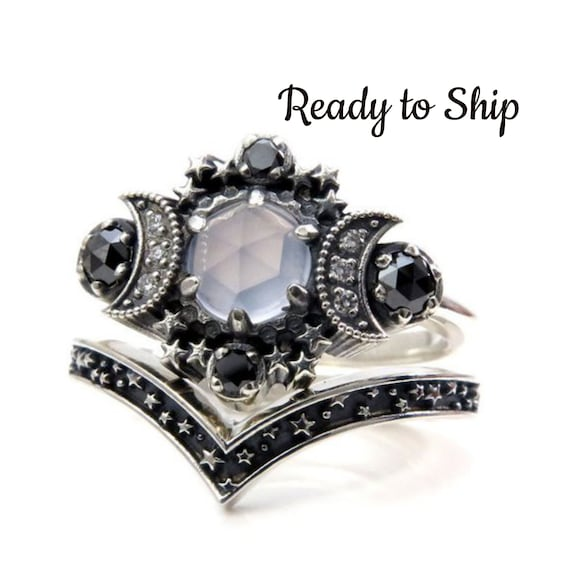 Ready to Ship Size 7 - 9 - Blue Chalcedony Cosmos Moon Engagement Ring Set Silver Moon and Stardust Chevron Wedding Band