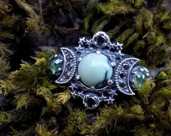 Ready to Ship Size 6 - 8 - Variscite Silver Cosmos Moon Engagement Ring Set - Green & Black Diamonds - Triple Moon Jewelry
