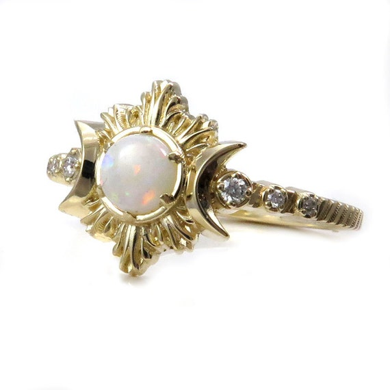 Opal Pyre Moon Ring - Diamond and Yellow Gold Celestial Engagement Ring
