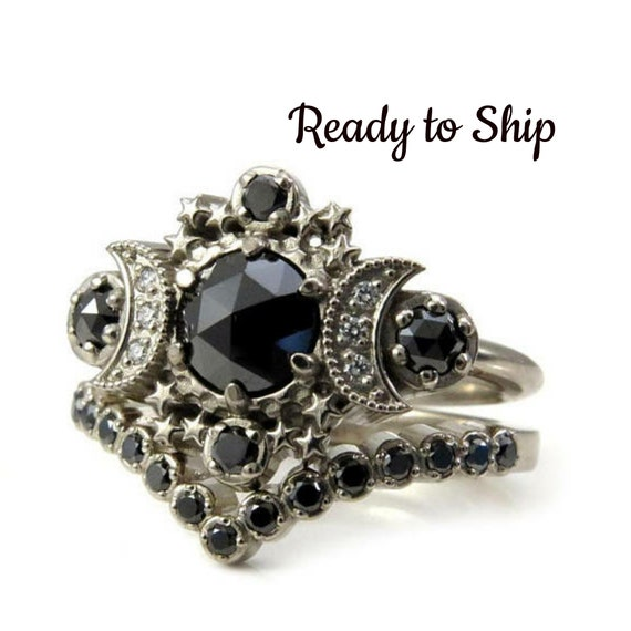 Ready to Ship Size 6-8 - Black Diamond Gothic Moon Engagement Ring with Pave Diamond Chevron Wedding Band - 14k Palladium White Gold